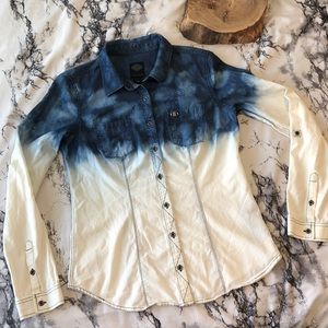 Harley Davidson Blue and White  Ombre Button Up M